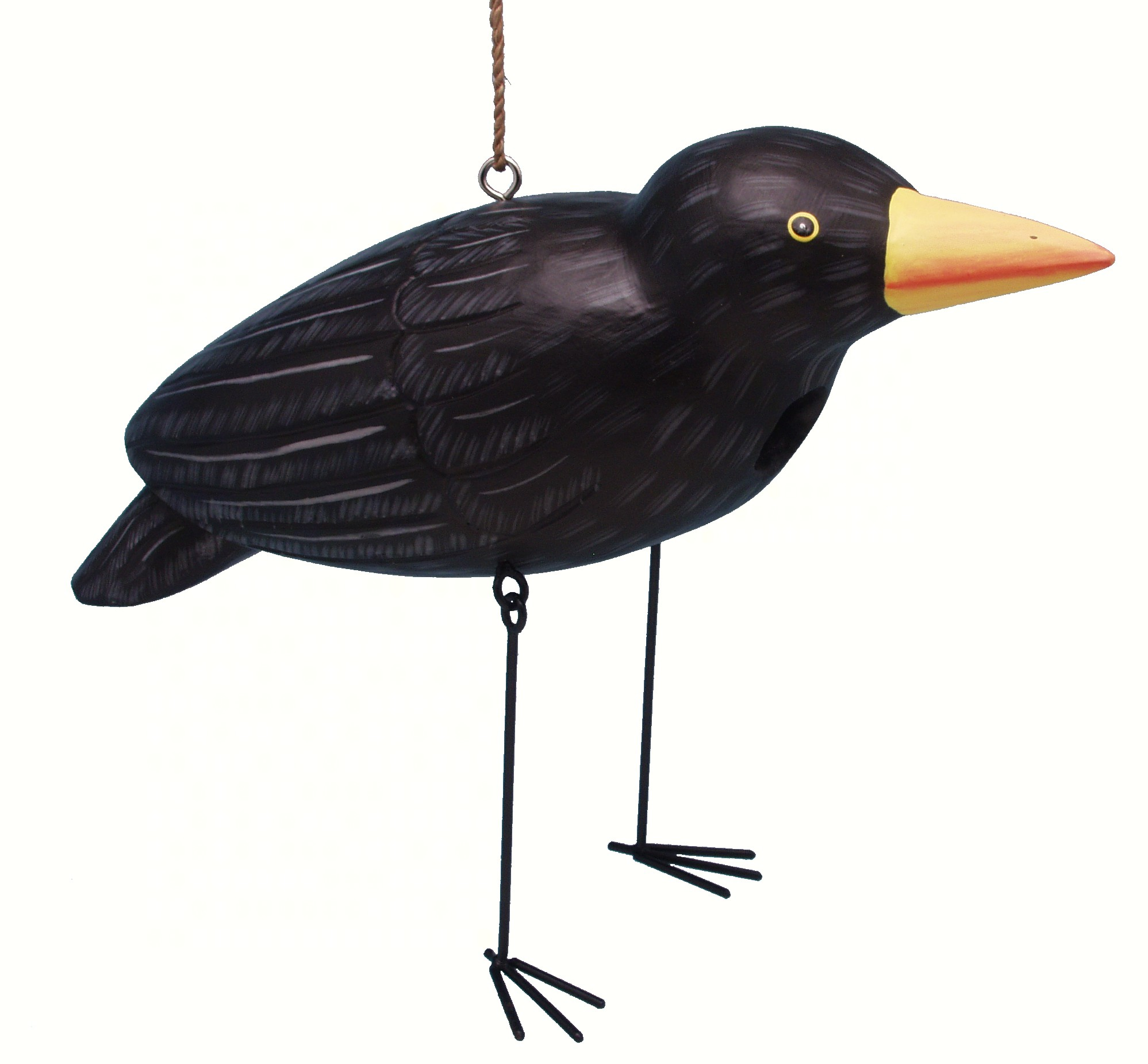 Crow with Dangling Metal Legs Birdhouse