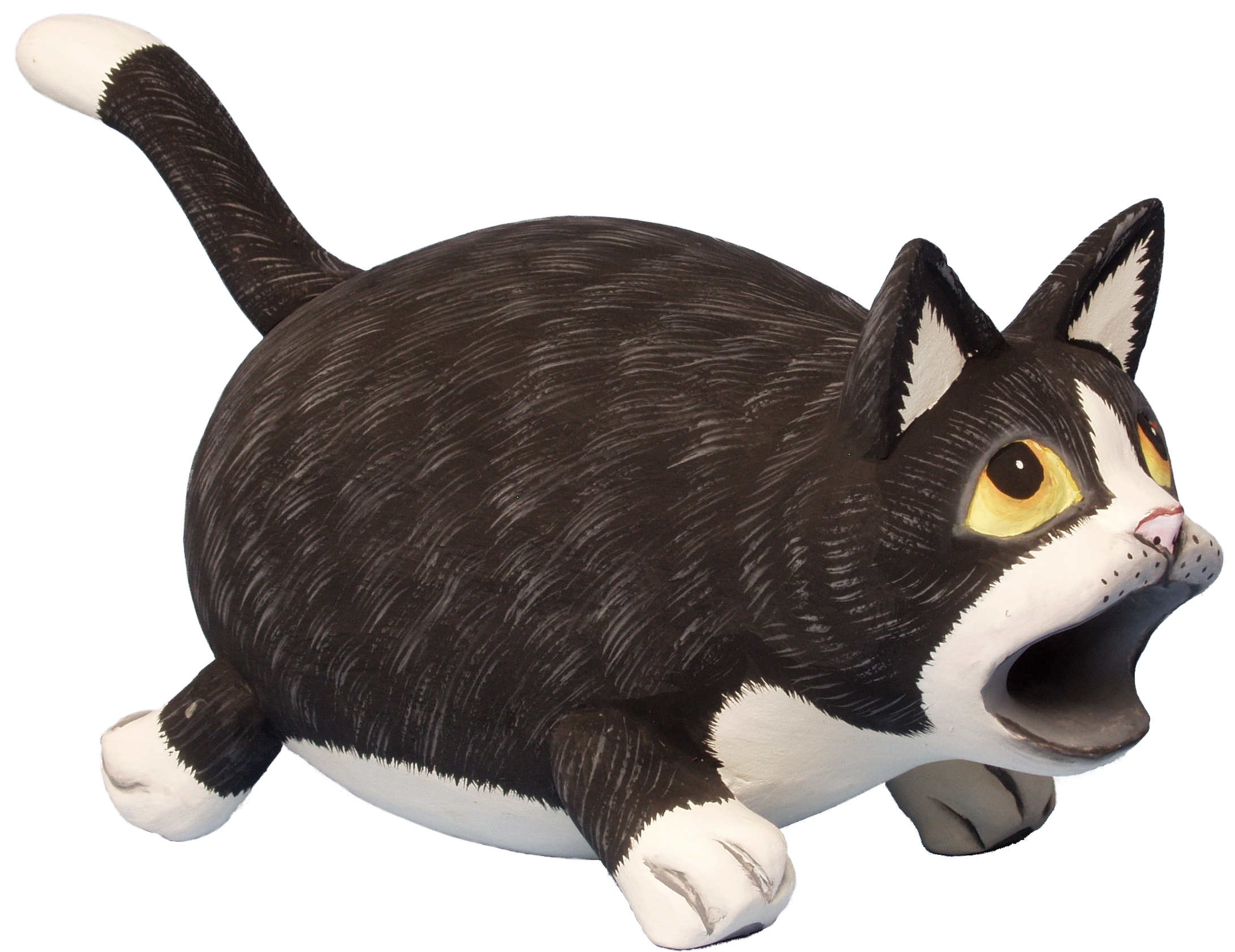 Big Mouth Black and White Cat Birdhouse