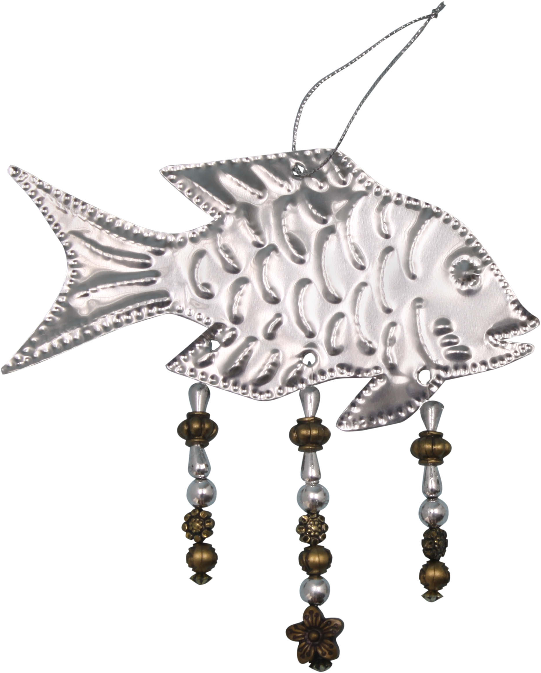 Fish Punched Metal and Bead Ornament