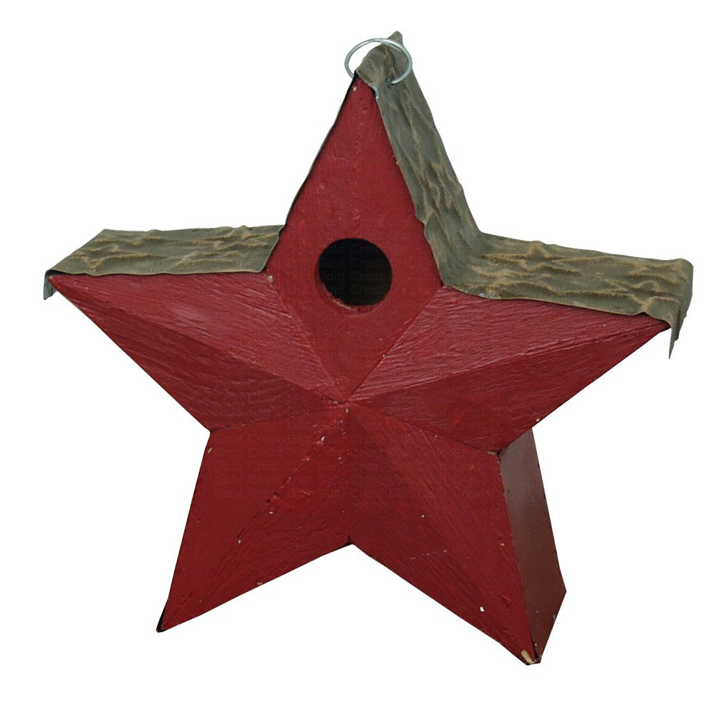 Country Star Bird House Red