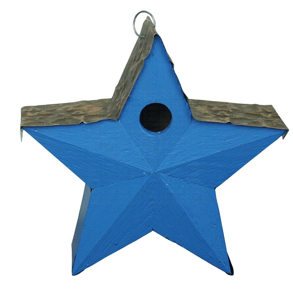 Country Star Birdhouse Blue