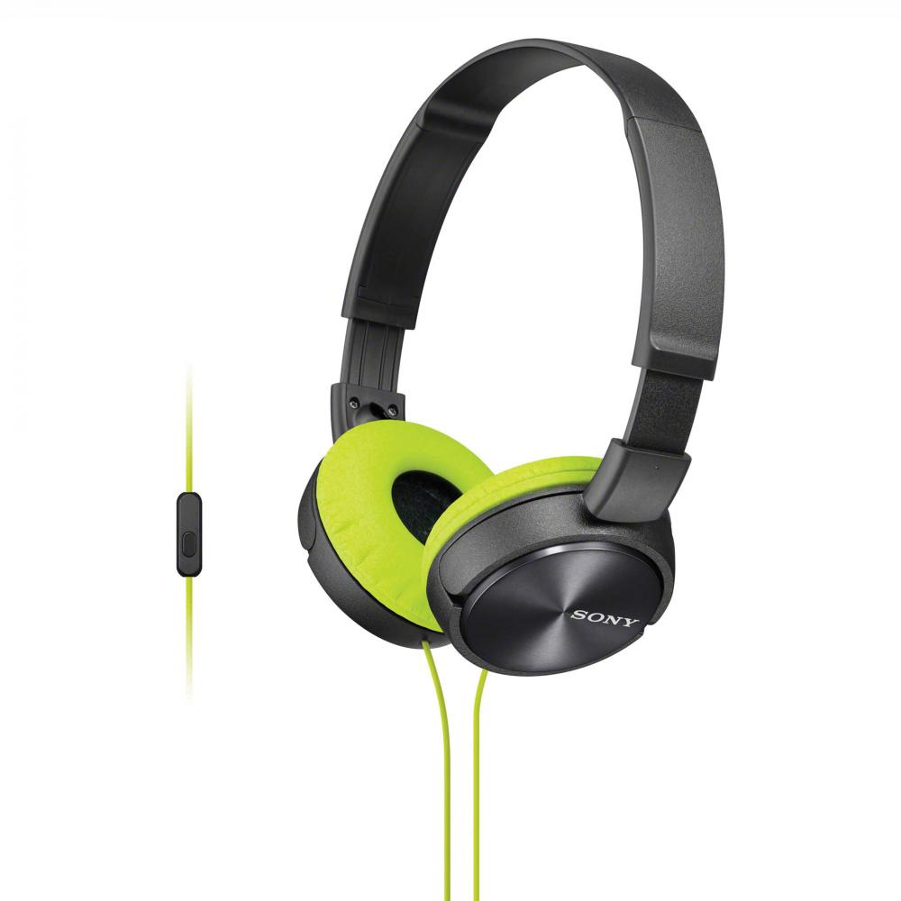 Sony MDR-ZX310AP Lightweight, Folding Stereo Headset (Grey/Yellow)