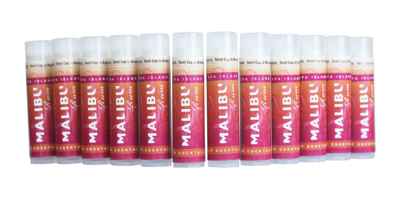 Spa Island SPF15 Sun Protection Malibu Pomegranate Orange Lip Balm - 12 pack