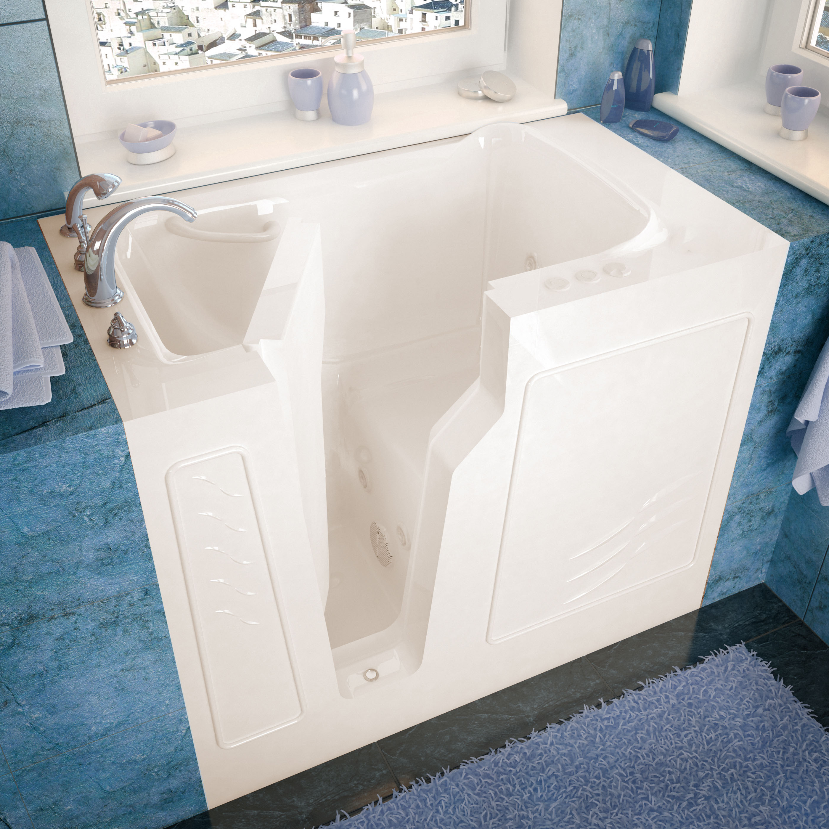 26x46 Left Drain Biscuit Whirlpool Jetted Walk-In Bathtub