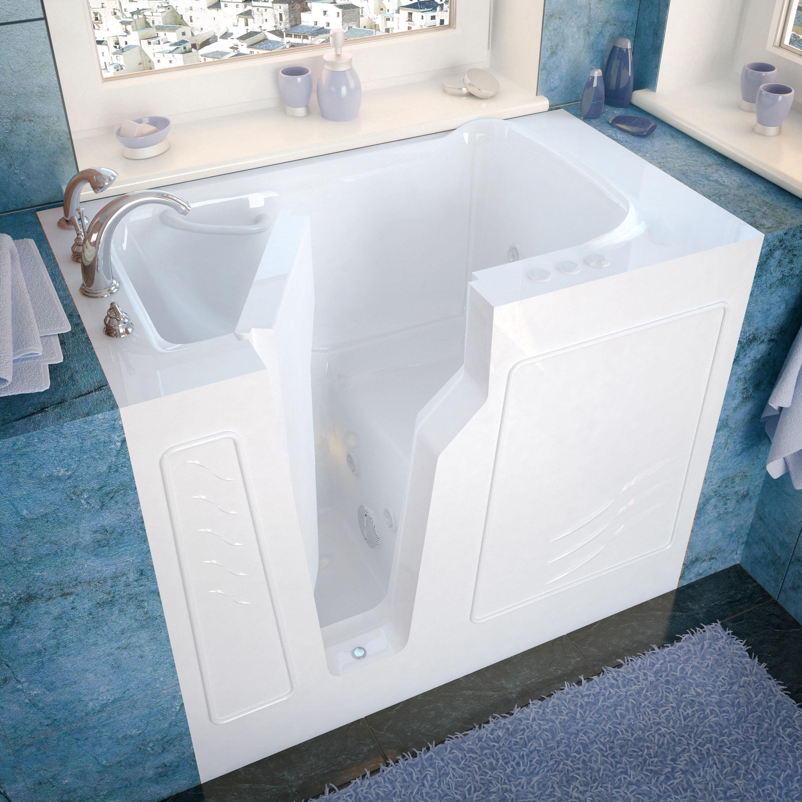 26x46 Left Drain White Whirlpool Jetted Walk-In Bathtub