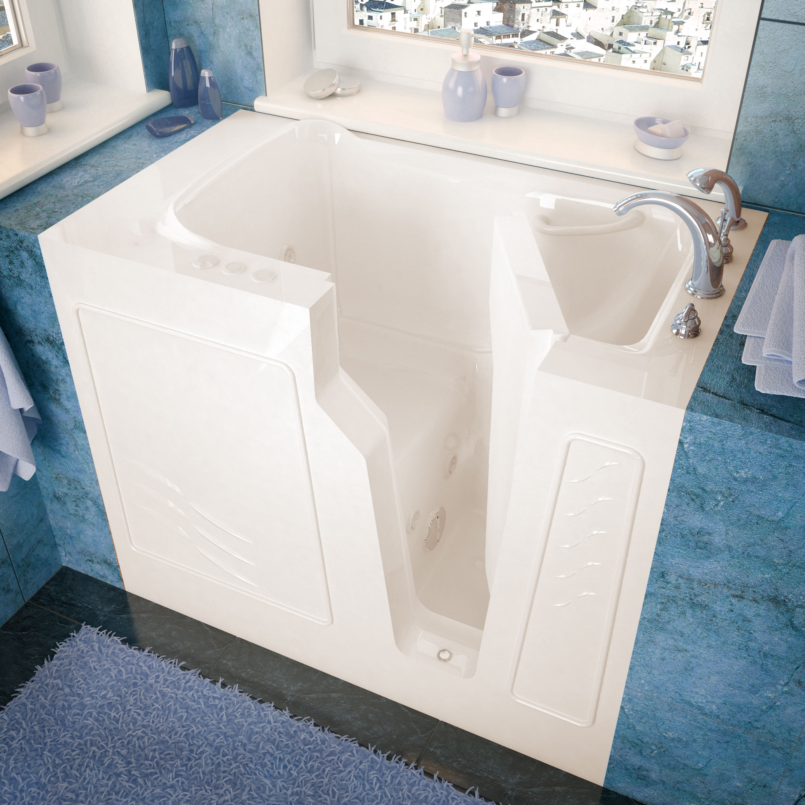 26x46 Right Drain Biscuit Whirlpool jetted Walk-In Bathtub