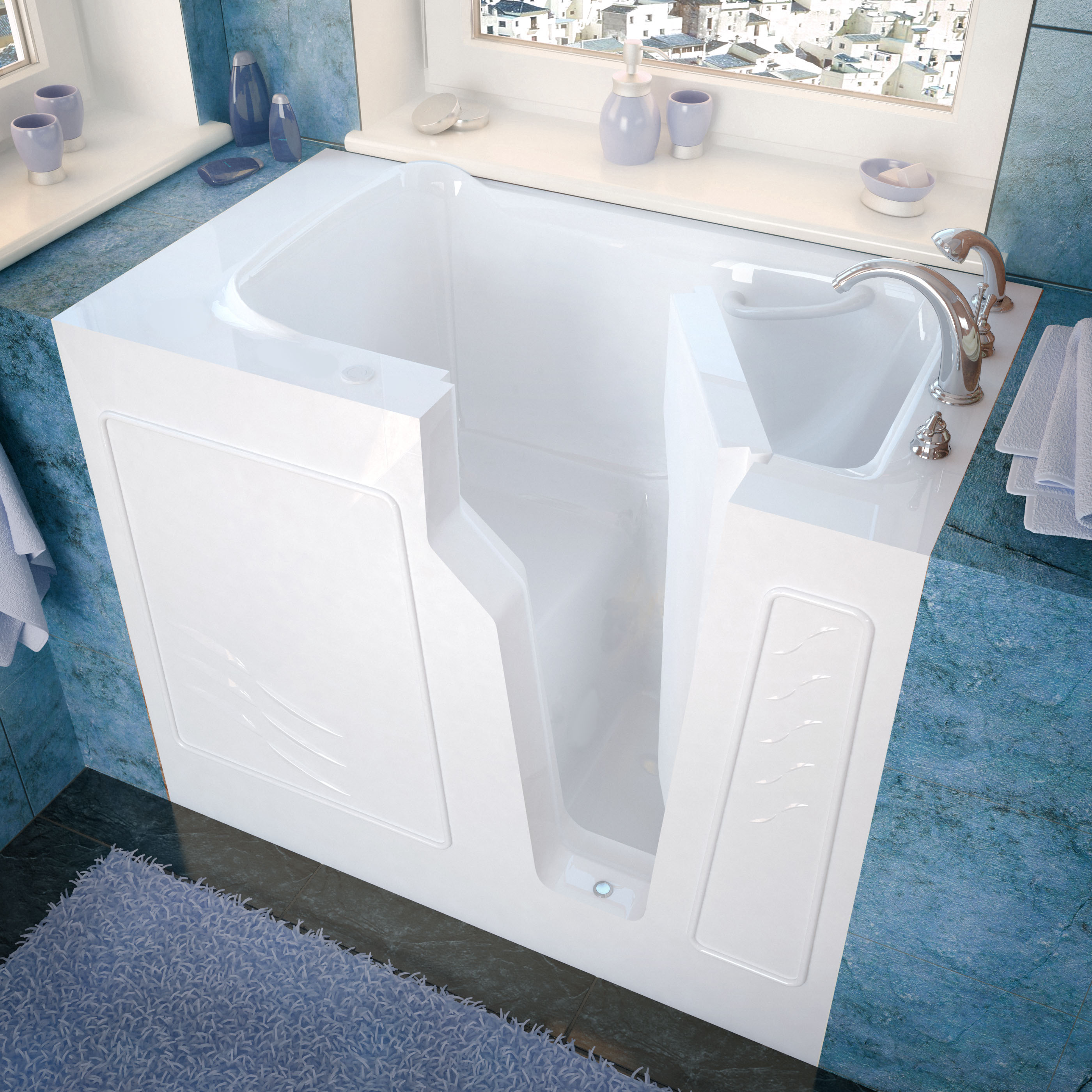 26x46 Right Drain White Soaking Walk-In Bathtub