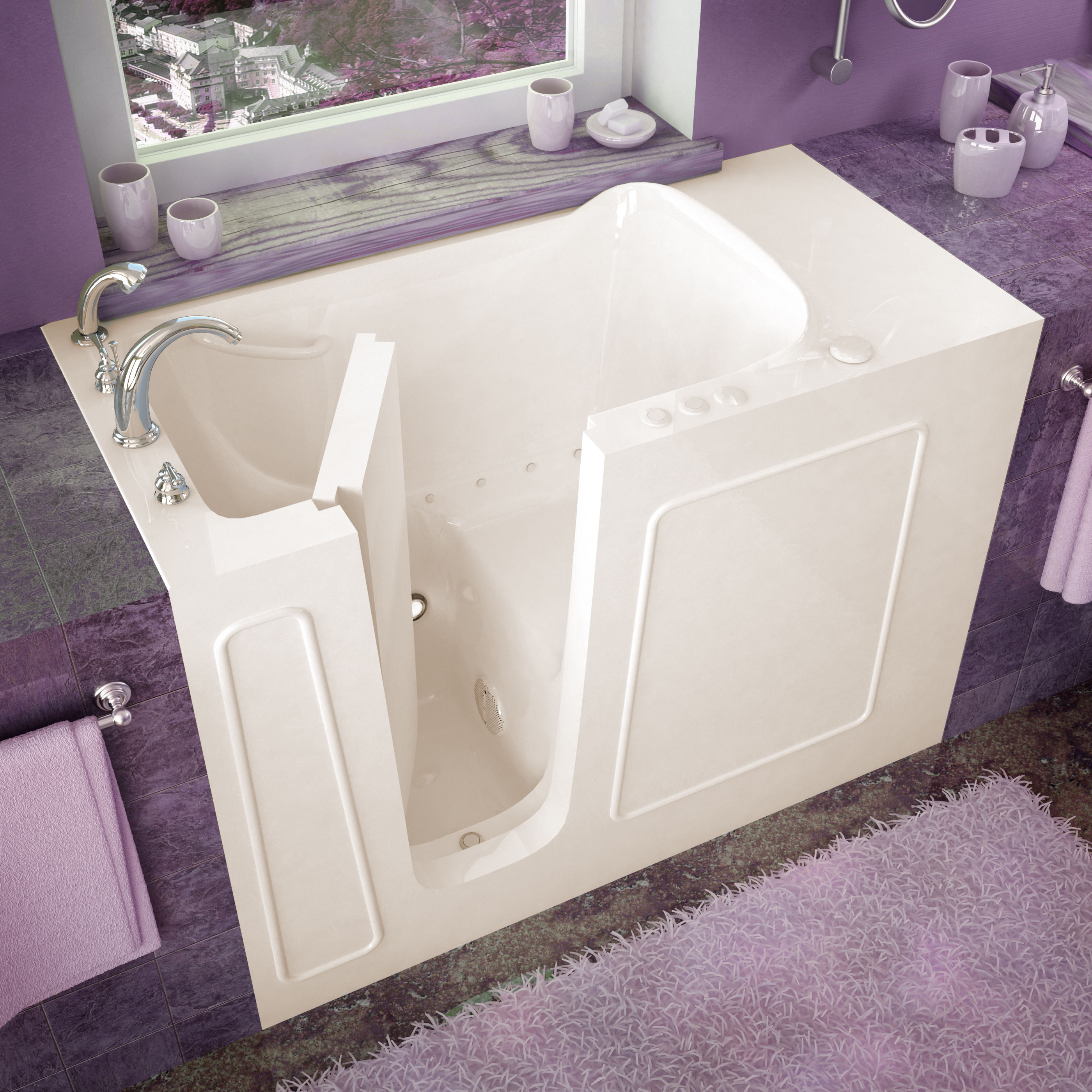 26x53 Left Drain Biscuit Air Jetted Walk-In Bathtub