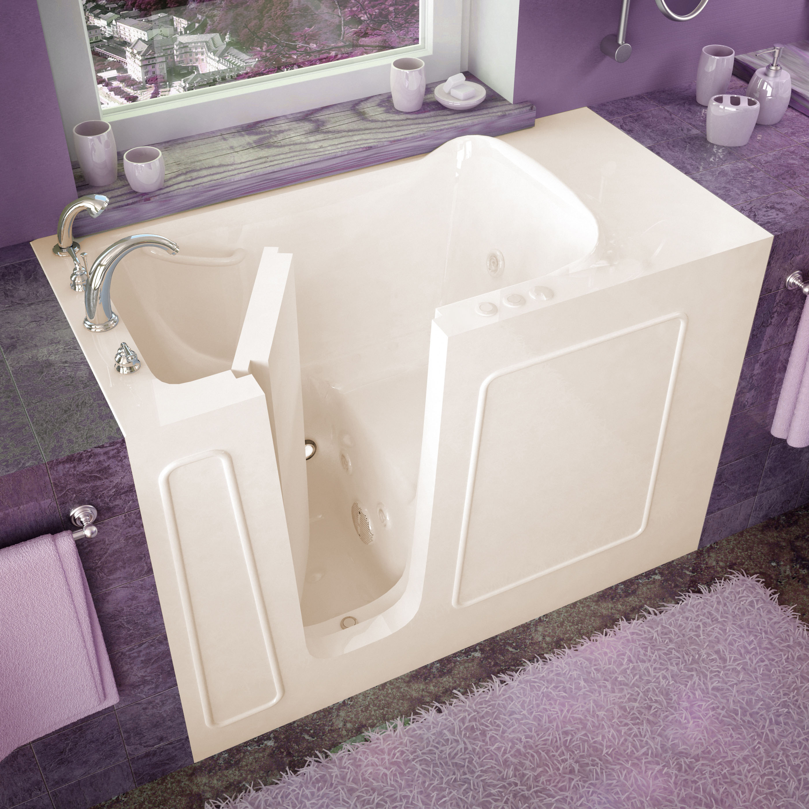 26x53 Left Drain Biscuit Whirlpool Jetted Walk-In Bathtub
