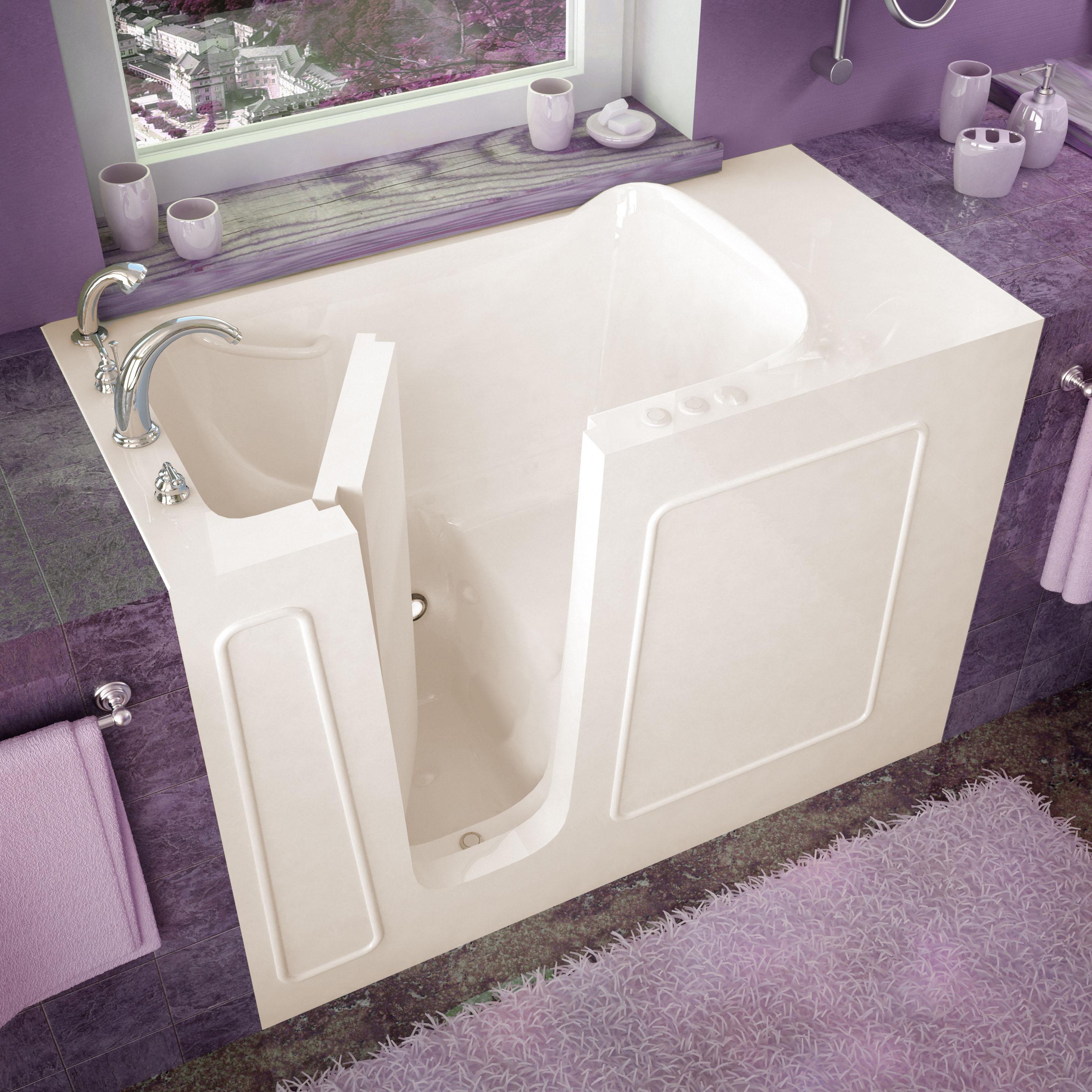 26x53 Left Drain Biscuit Soaking Walk-In Bathtub
