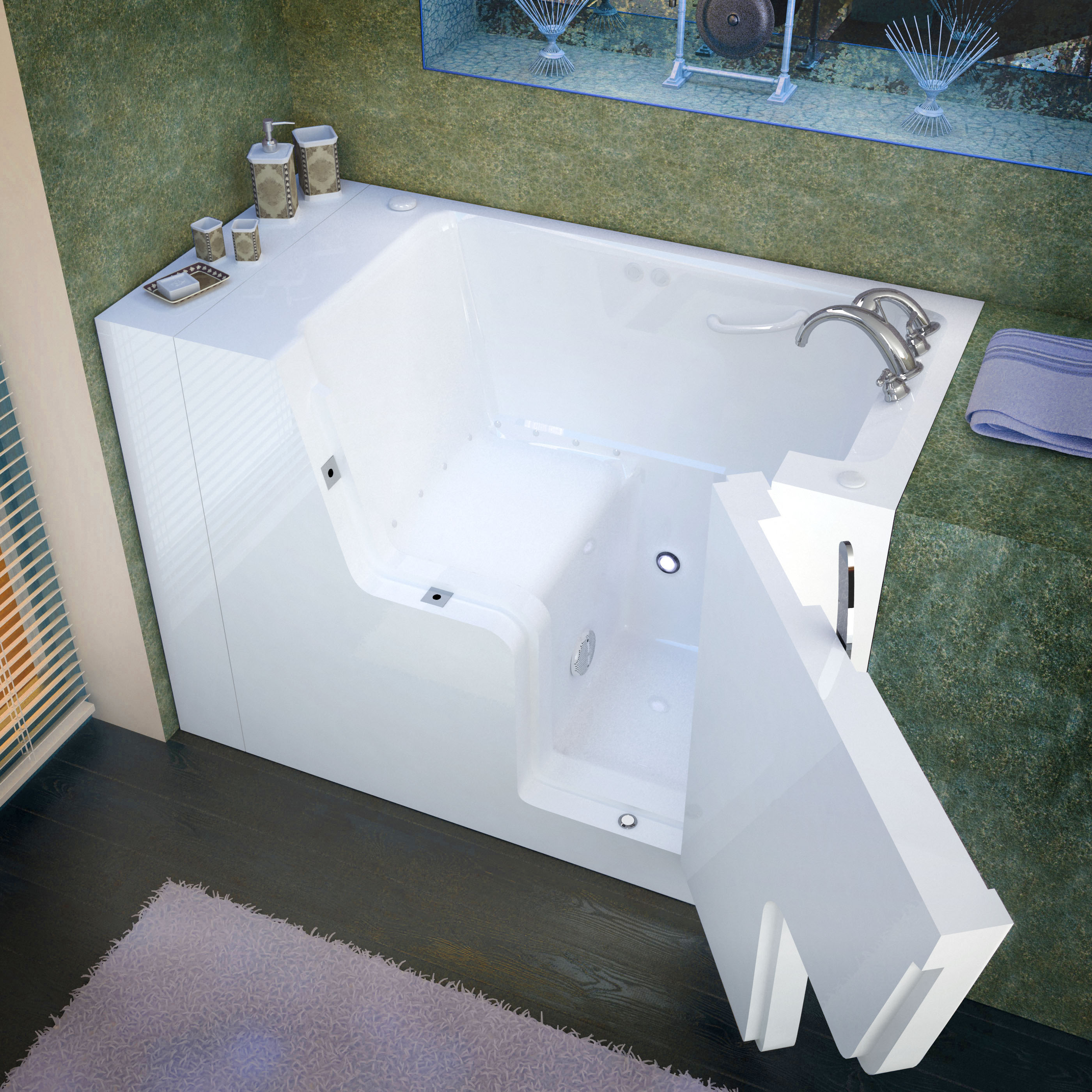 29x53 Right Drain White Air Jetted Wheelchair Accessible Walk-In Bathtub