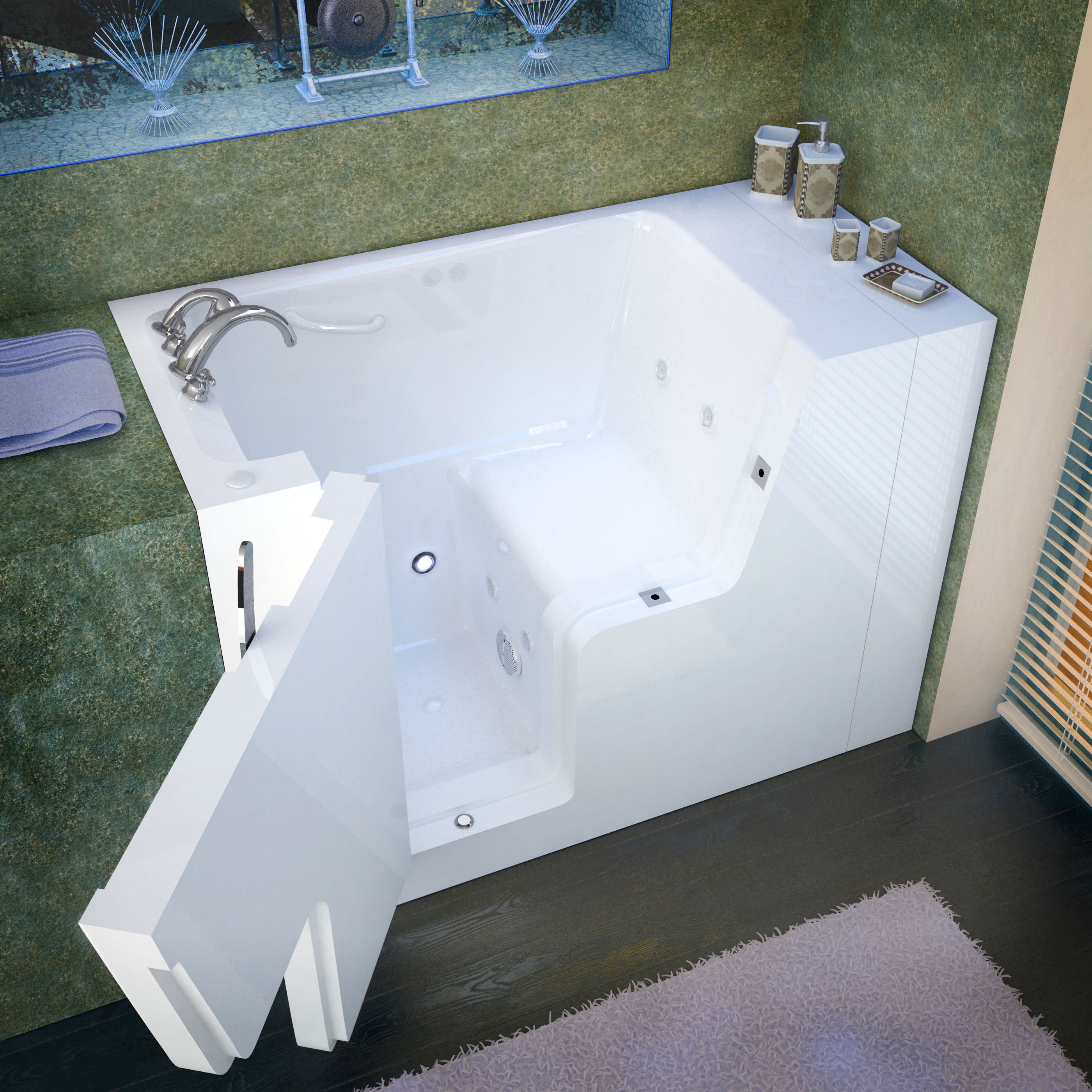 29x53 Left Drain White Whirlpool Jetted Wheelchair Accessible Walk-In Bathtub