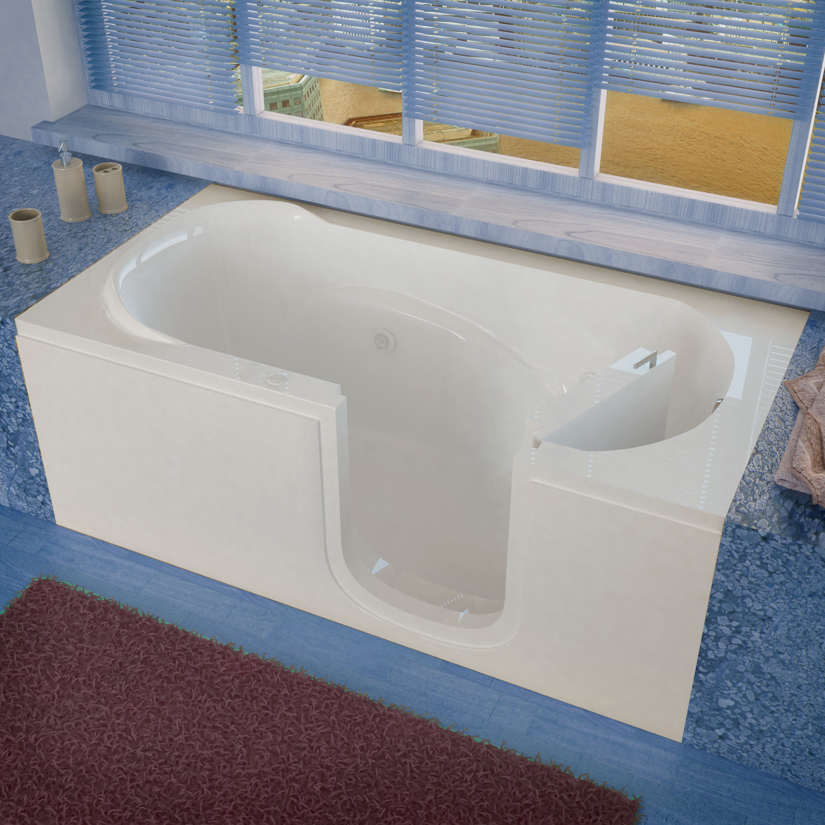 30x60 Right Drain White Whirlpool Jetted Step-In Bathtub