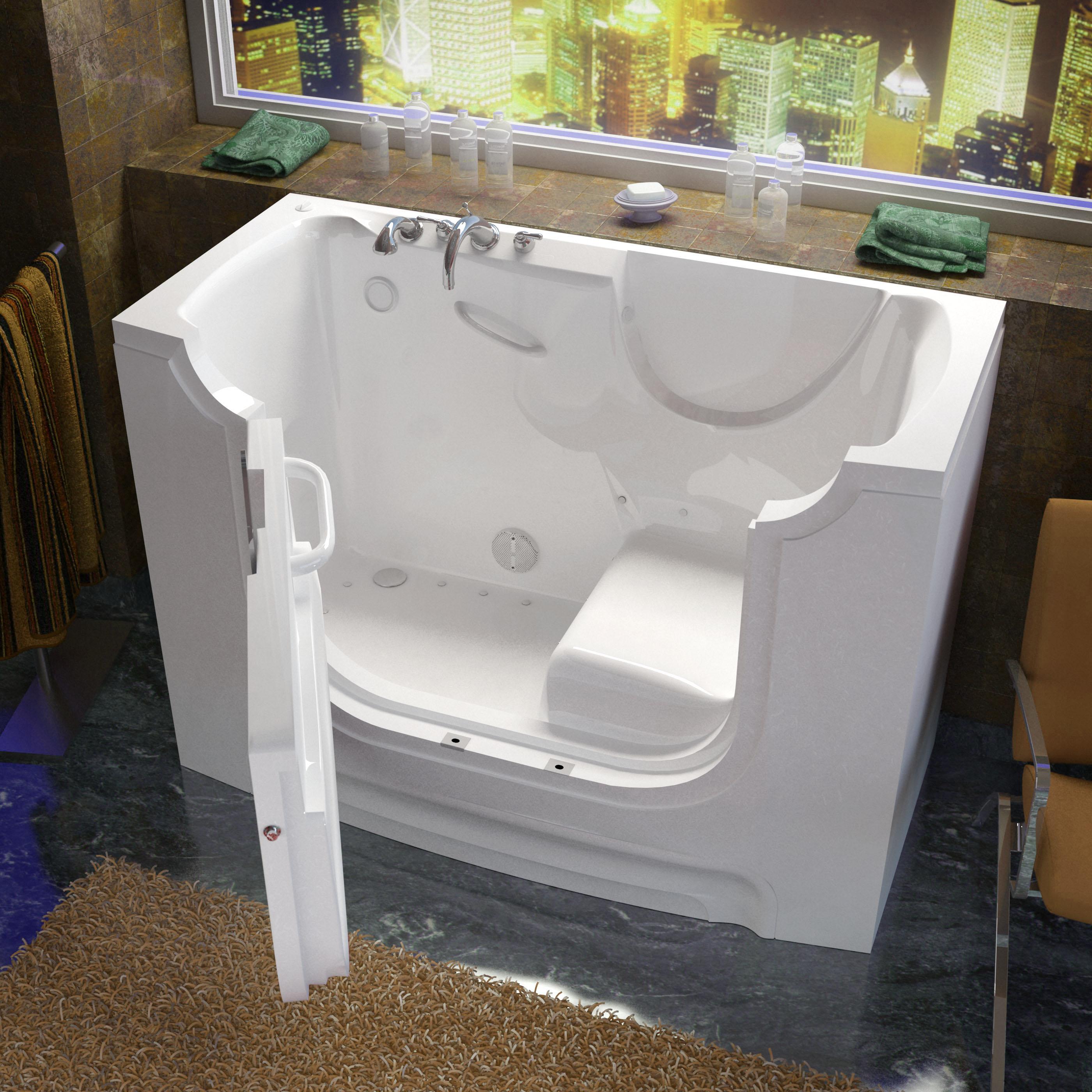 30x60 Left Drain White Air Jetted Wheelchair Accessible Walk-In Bathtub
