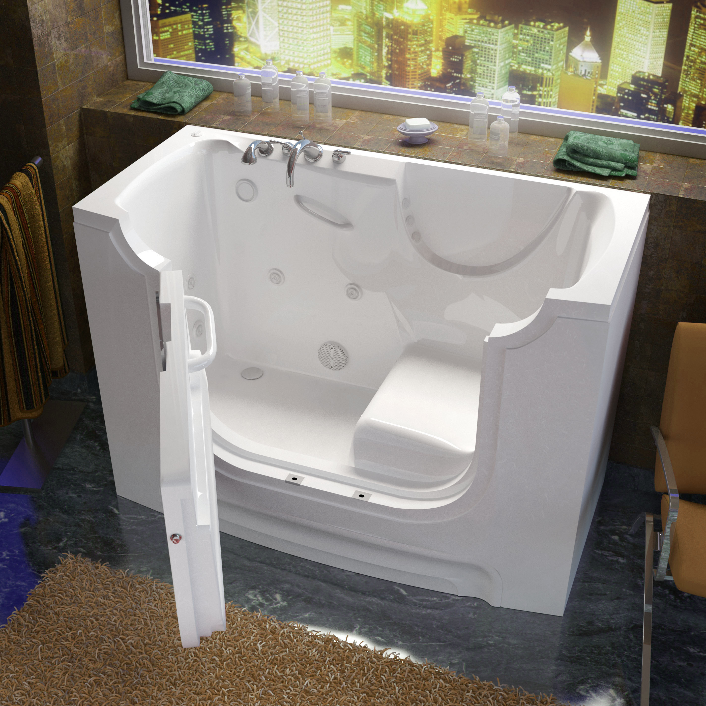 30x60 Left Drain White Whirlpool Jetted Wheelchair Accessible Walk-In Bathtub