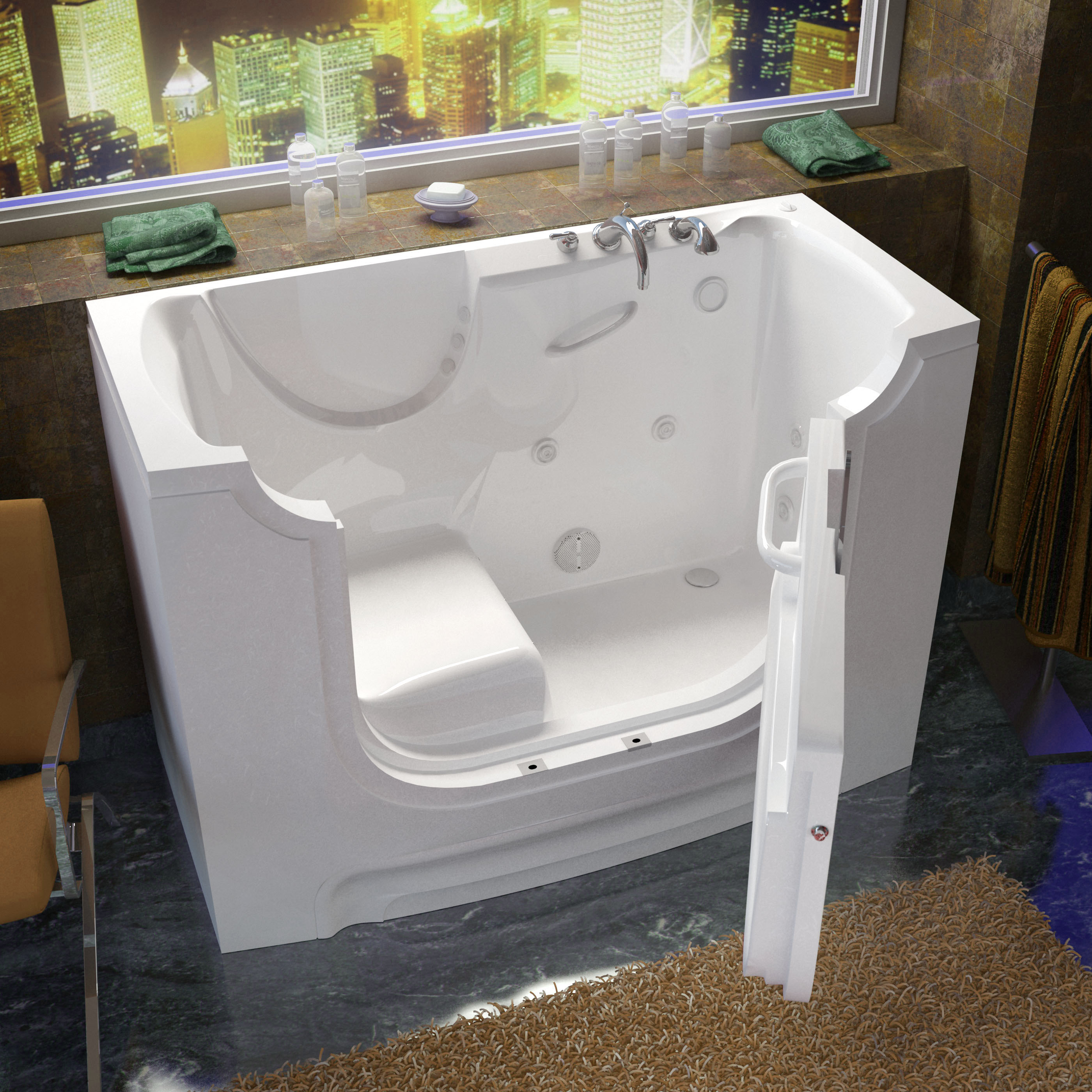 30x60 Right Drain White Whirlpool Jetted Wheelchair Accessible Walk-In Bathtub