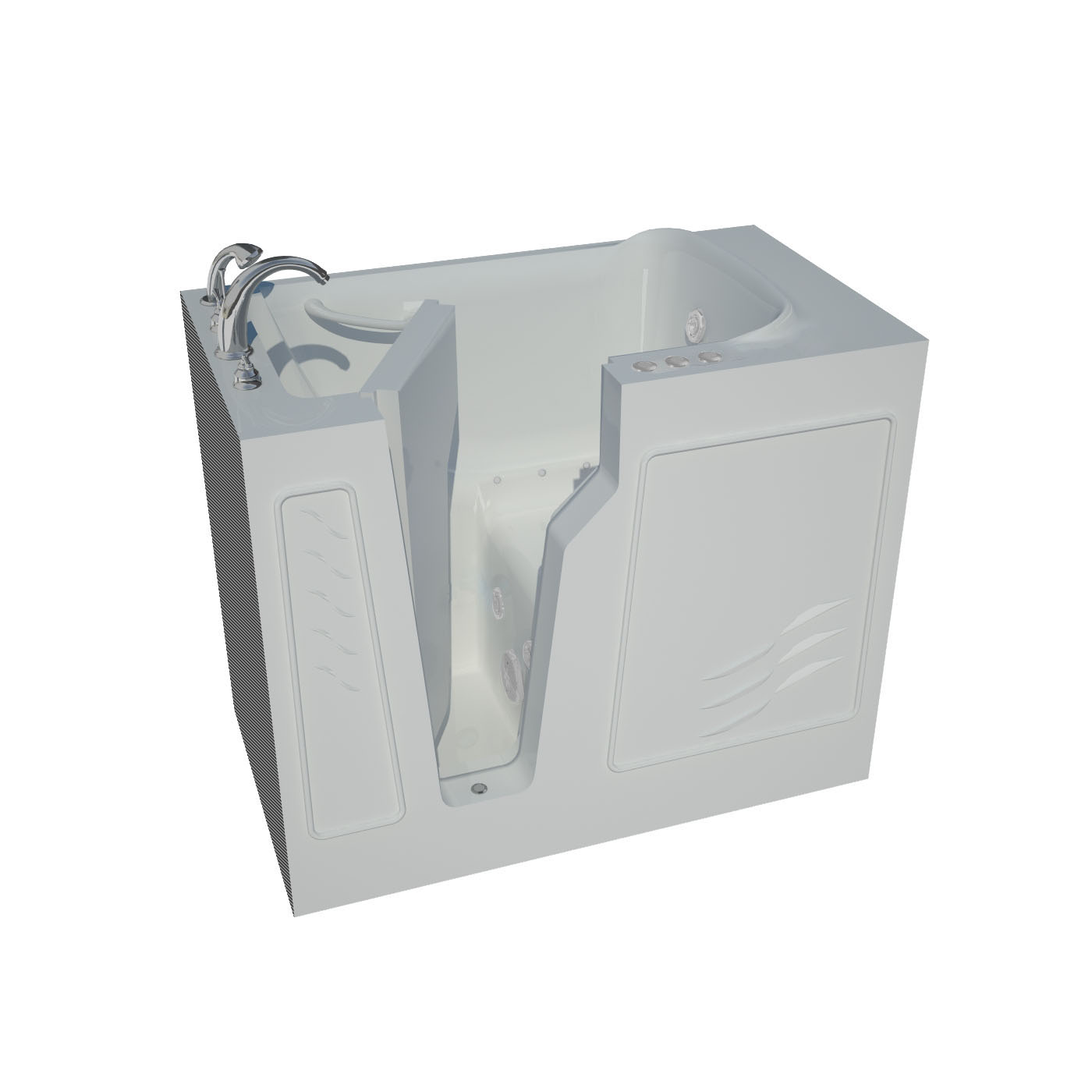 26 x 46 Left Drain Whirlpool & Air Jetted Walk-In Bathtub in White