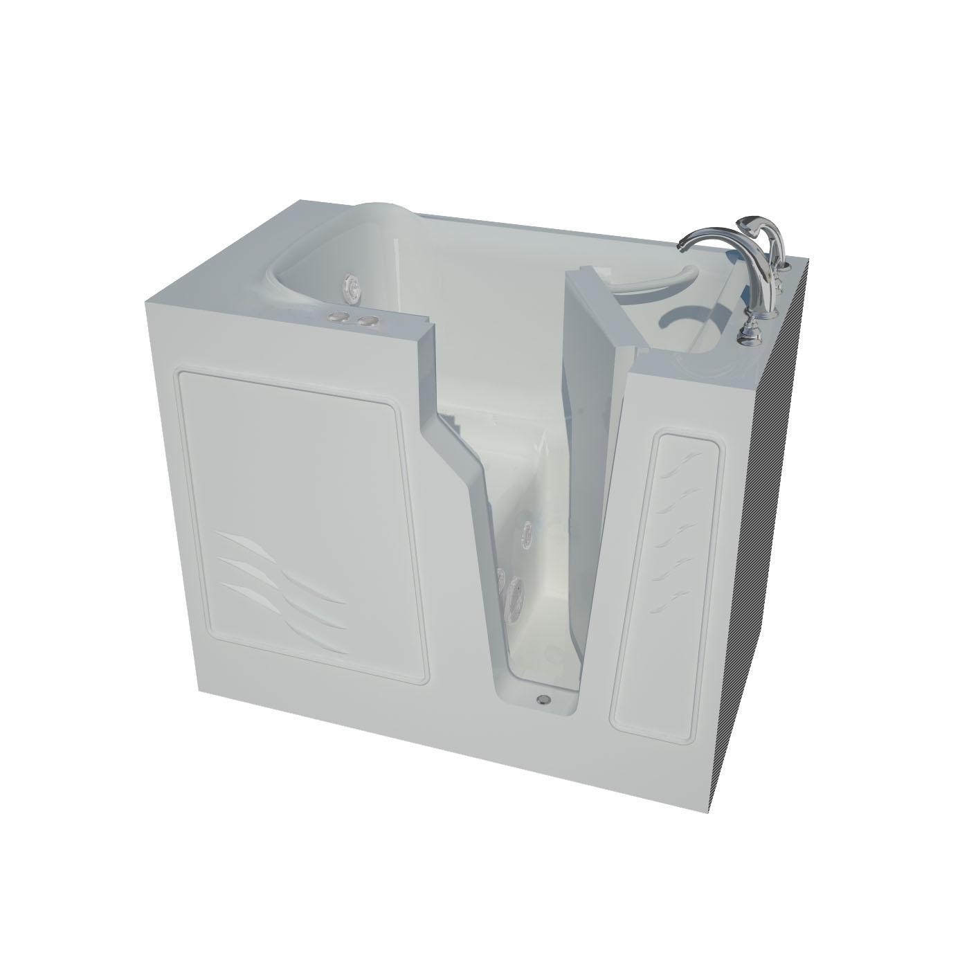 26 x 46 Right Drain Soaking Walk-In Bathtub in White