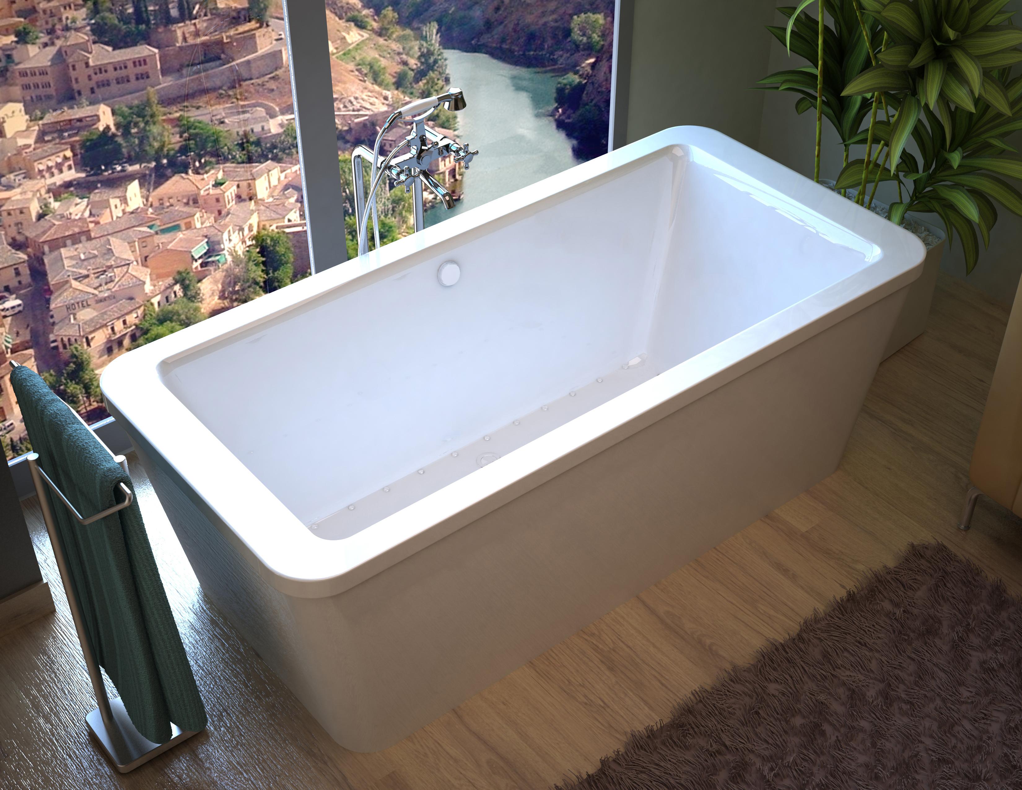 Aquilia 34 x 67 x 22 in. Rectangular Freestanding Air Jetted Bathtub