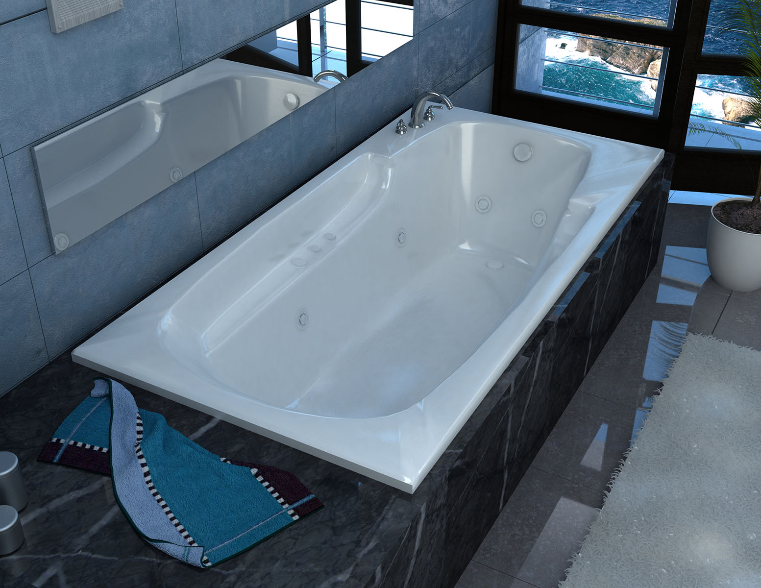 Aesis 36 x 72 Rectangular Whirlpool Jetted Bathtub