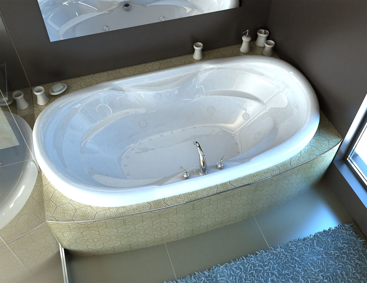 Aline  Waterfall 41 x 70 Oval Air & Whirlpool Jetted Bathtub
