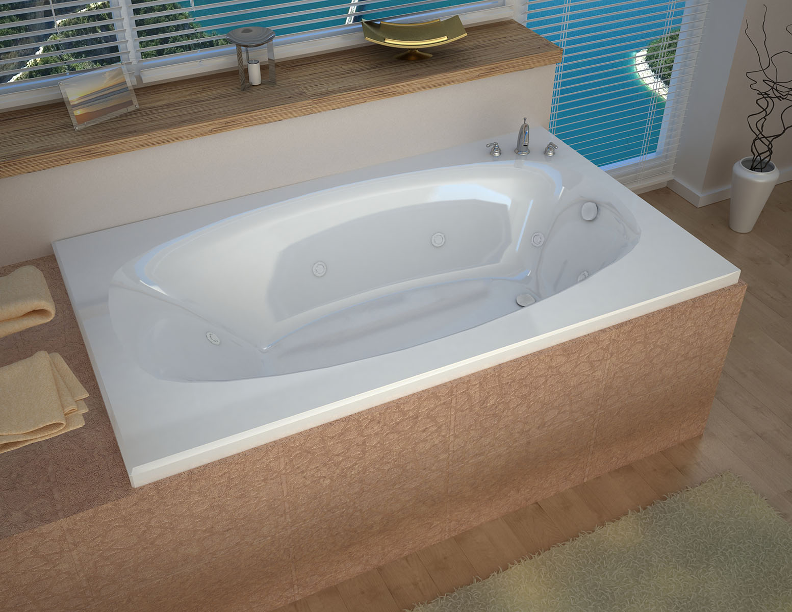 Talia 42 x 66 Rectangular Whirlpool Jetted Bathtub