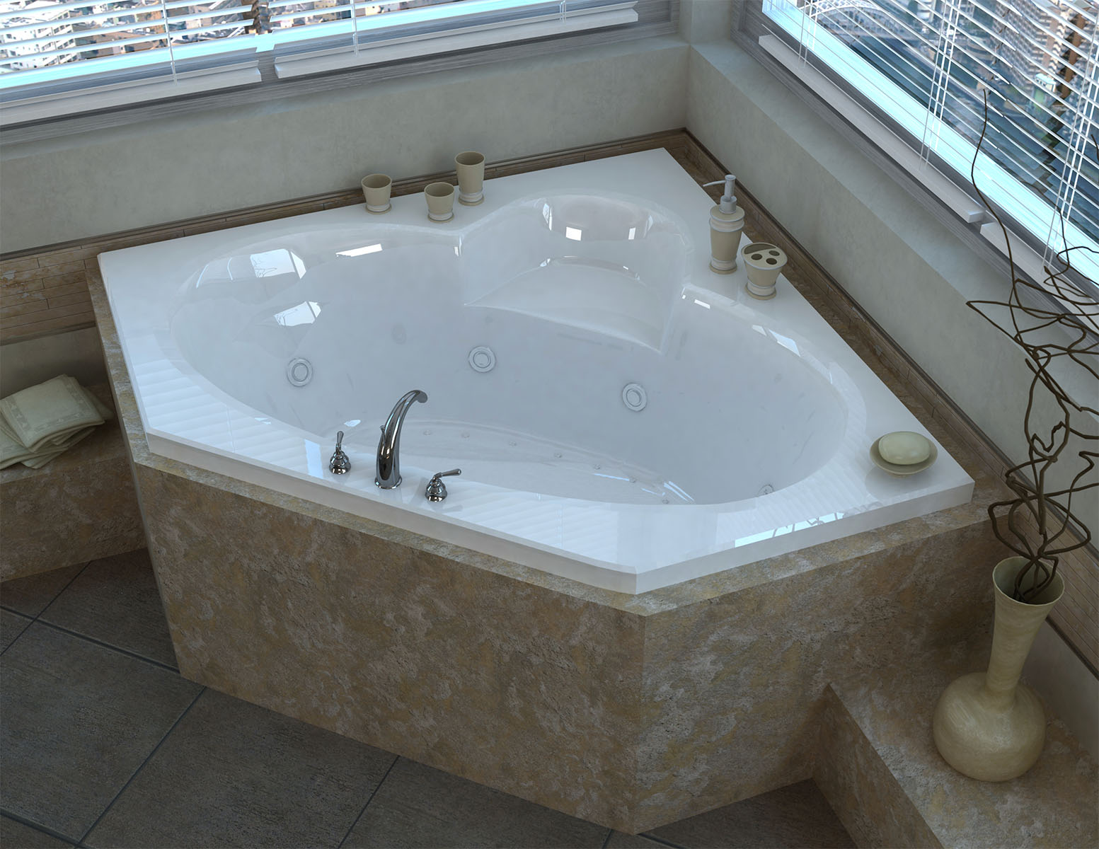 Ambra 60 x 60 Corner Air & Whirlpool Jetted Bathtub
