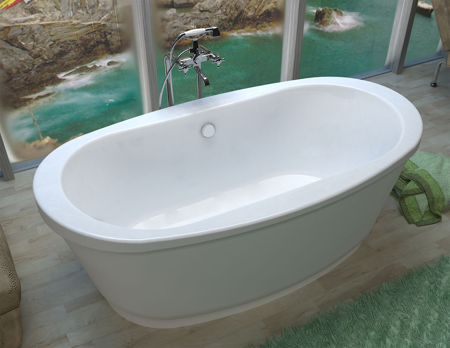 Ardea 36 in. by 66 in. Freestanding Tub, Center Drain