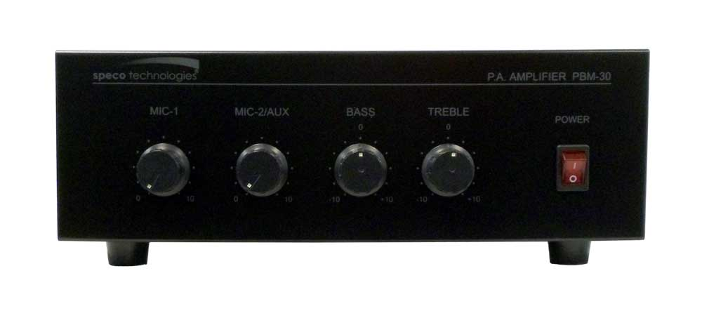 30 WATT PA AMP/2 MIC INPUTS/AUX/AUTO MUTE 110 VOLT