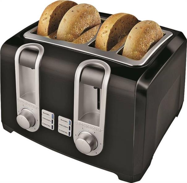 Black Decker 4 Slice Toaster 4 Slot Black