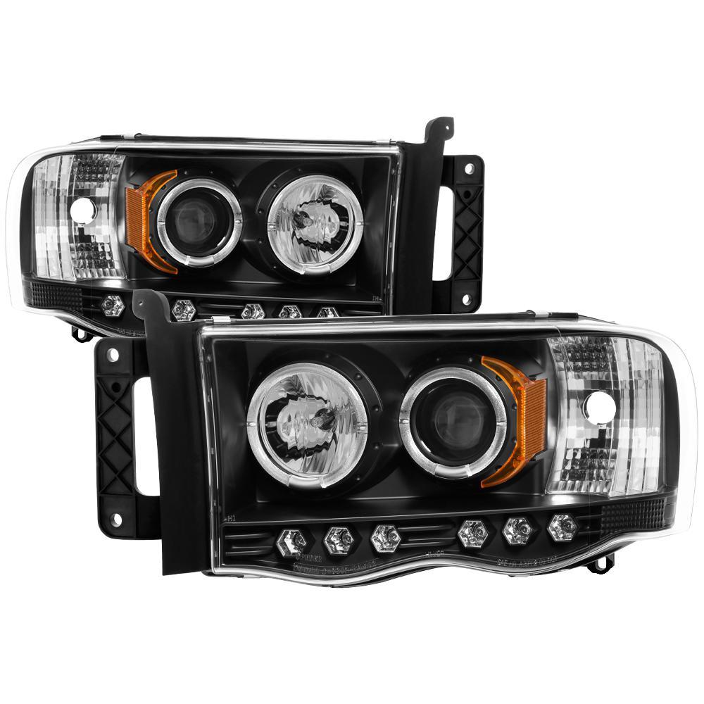 02-05 RAM 1500/03-05 RAM 2500/3500 PROJECTOR HEADLIGHTS-LED HALO-LED ( REPLACEAB