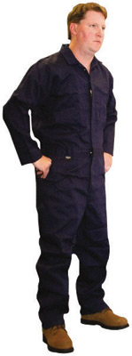 Stanco Large Navy Blue 9 Ounce Cotton Flame Resistant Coverall With Front Zipper Closure And Elastic Waistband