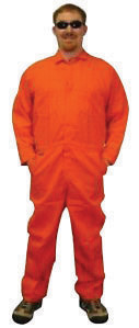 Stanco Large Orange 9 Ounce Indura� Cotton Flame Resistant Coverall With Front Zipper Closure And Elastic Waistband