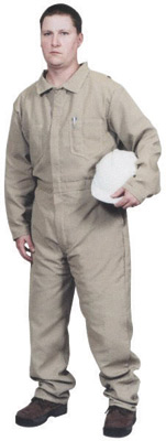 Stanco 3X Tan 9 Ounce Indura� Cotton Flame Resistant Coverall With Front Zipper Closure And Elastic Waistband