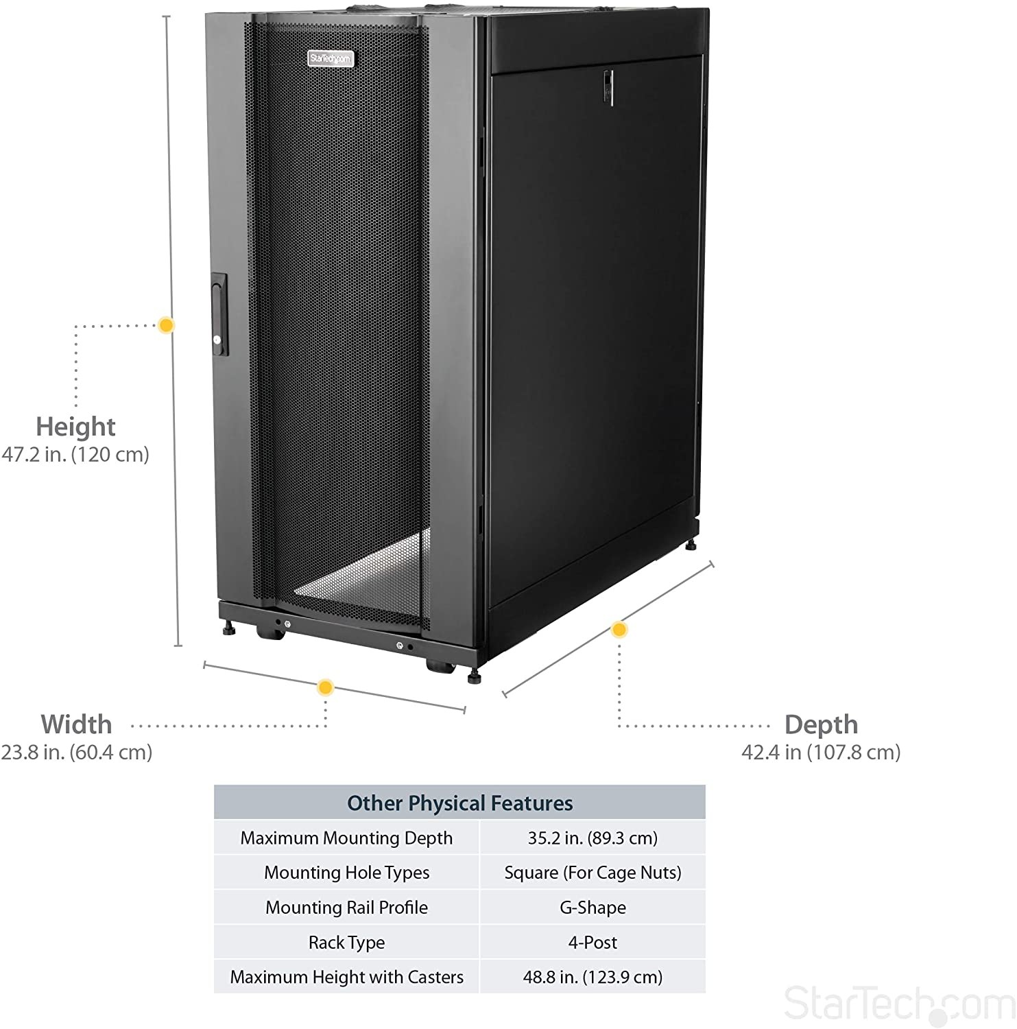 StarTech.com 25U Deep Enclosure Server Rack Cabinet RK2537BKM
