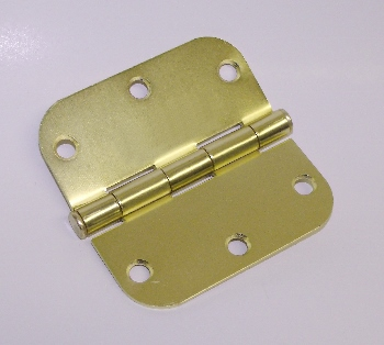 "DOOR HINGE, 3-1/2""X3-1/2""X5/8"" RADIUS CORNERS, SATIN BRASS, 14 PAIR-PACK"