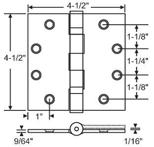 "BALL BEARING DOOR HINGE, 4-1/2""X4-1/2""X SQUARE CORNERS, SATIN CHROME, 3 SETS OF 3-PACK"