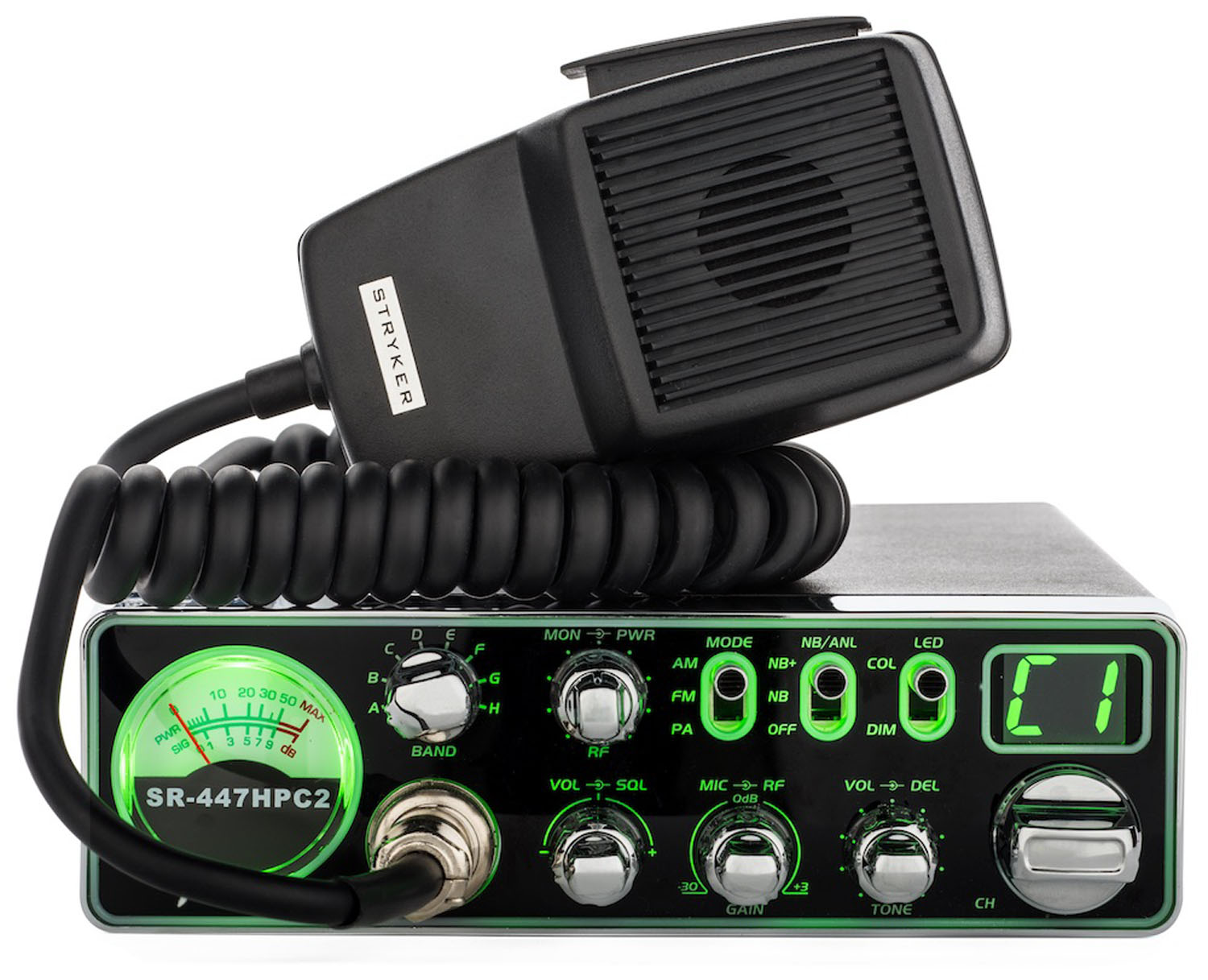 STRYKER 55 WATT AM/FM COMPACT 10 METER RADIO WITH 3 COLOR SELECTABLE FACE, RF POWER CONTROL & RF GAIN, VARIABLE DIMMER, VARIABLE