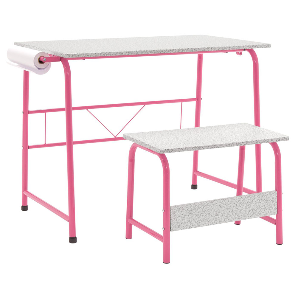 Project Center, Kids Craft Table with Bench - Pink / Spatter Gray
