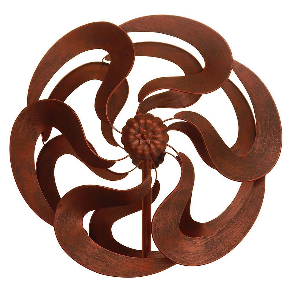 "75"" Bronze Flower Windmill Stake"