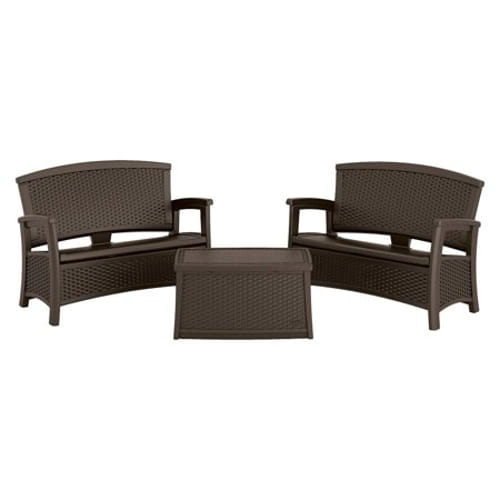 3 Piece Essentials Loveseat Patio Set - Java