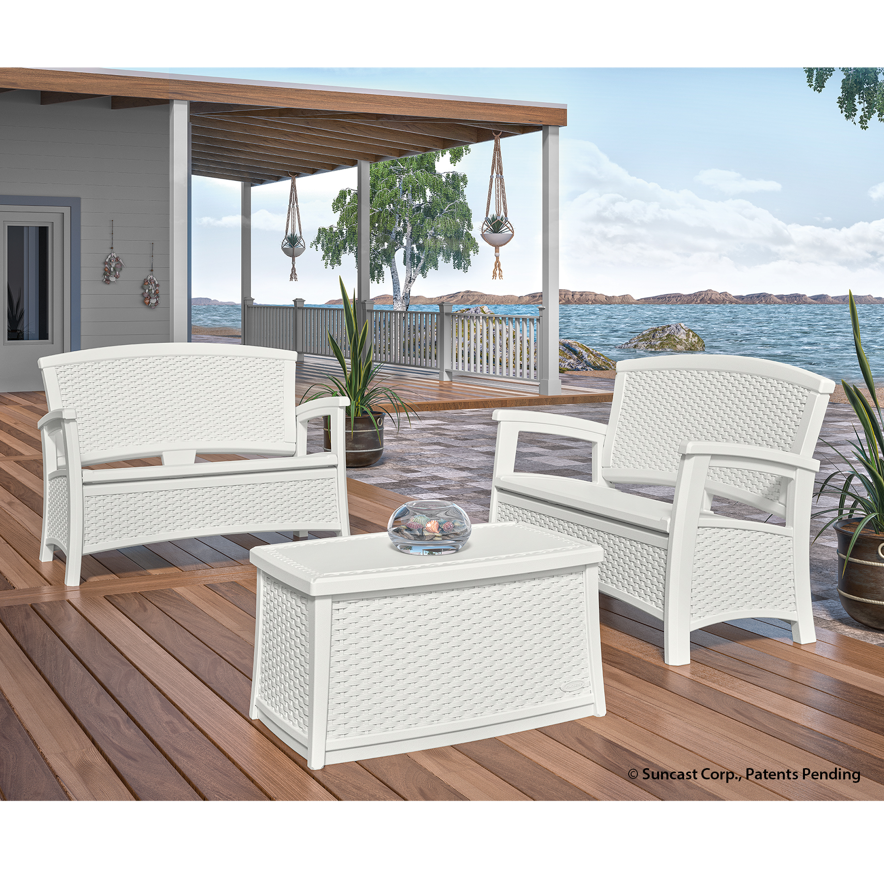 3 Piece Essentials Loveseat Patio Set - White