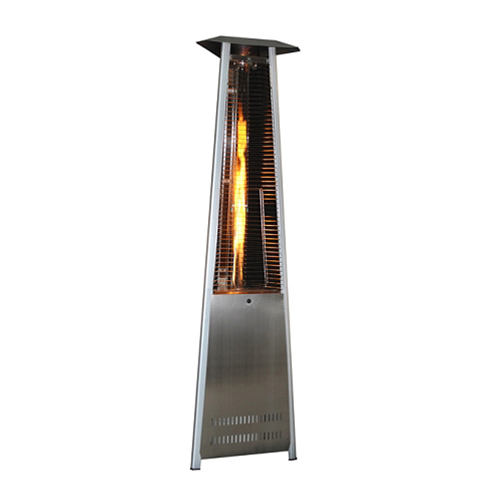Contemporary Triangle Design Portable Propane Patio Heater with Decorative Variable Flame-Stainless Steel