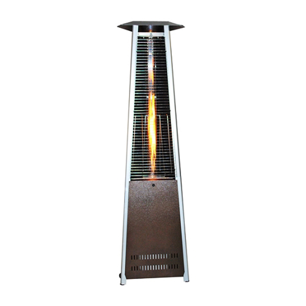 Contemporary Triangle Design Portable Propane Patio Heater with Decorative Variable Flame-Golden Hammered