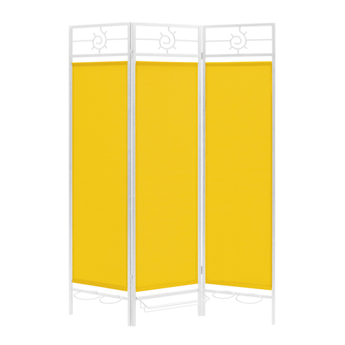 Contemporary Privacy Screen in a Box with Yellow Fabric and Bronze Frame