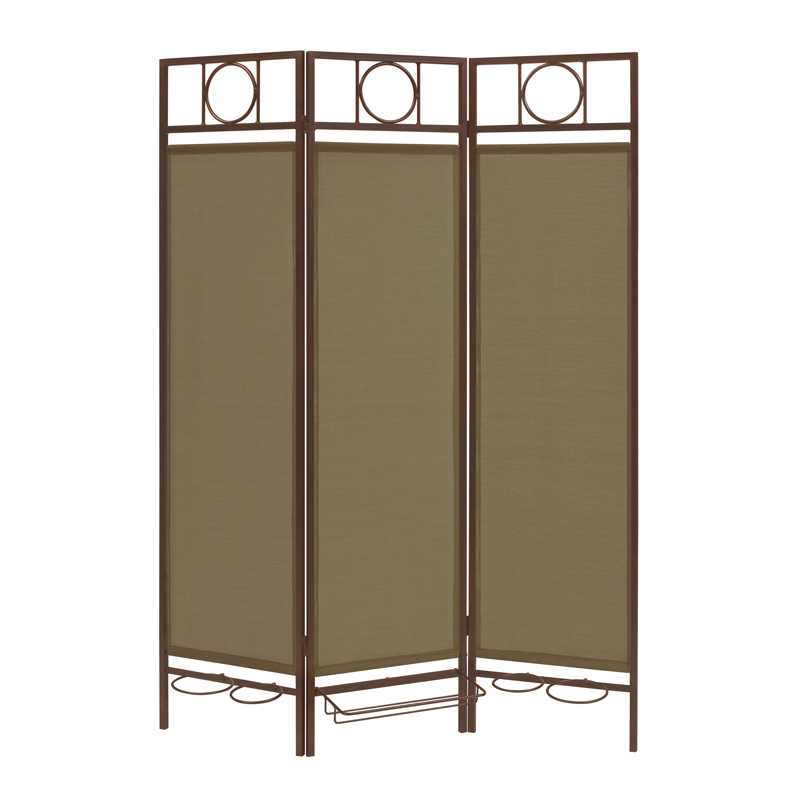 Contemporary Privacy Screen in a Box with Sage Fabric and Bronze Frame