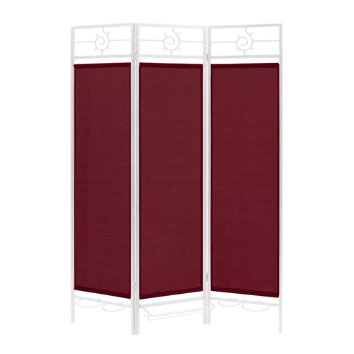 Contemporary Privacy Screen in a Box with Burgundy Fabric and Bronze Frame