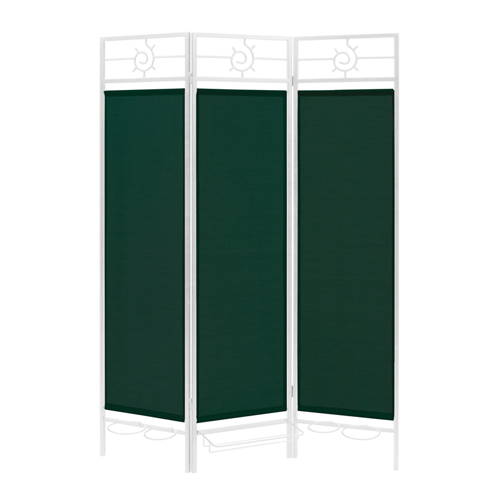Contemporary Privacy Screen in a Box with Forest Green Fabric and Bronze Frame