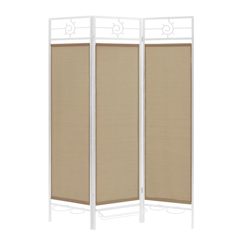 Contemporary Privacy Screen in a Box with Sandy Fabric and Bronze Frame