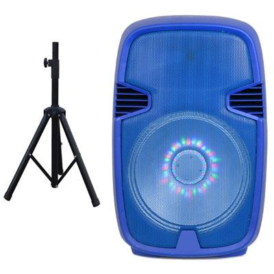 "15"" Portable BT DJ Speaker w Stnad Blue"